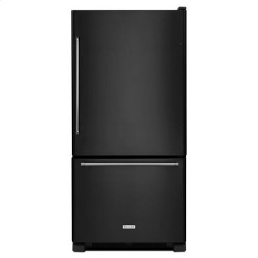 KitchenAid® 22 cu. ft. 33-Inch Width Full Depth Non Dispense Bottom Mount Refrigerator - Black
