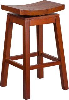 30'' High Saddle Seat Light Cherry Wood Barstool with Auto Swivel Seat Return