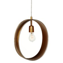 Gold with Silver Edge Oval Pendant. 60W Max. Hard Wire Only.