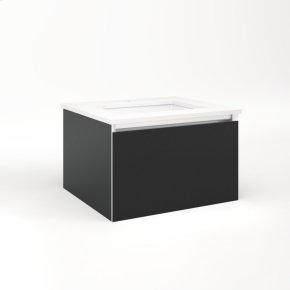 """Cartesian 24-1/8"""" X 15"""" X 21-3/4"""" Single Drawer Vanity In Matte Black With Slow-close Plumbing Drawer and No Night Light"""