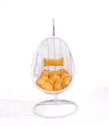 Complete Swing Basket W/cushion-frame-base- Spunpolyester Orange #e004-white Wicker Frame