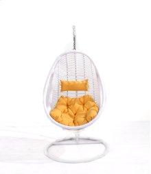 Complete Swing Basket W/cushion-frame-base- Spunpolyester Orange #e004-white Wicker Frame