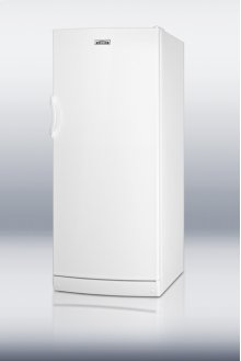"Commercially approved full-sized auto defrost all-refrigerator with internal fan in thin 24"" footprint"