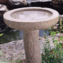 Rough Bird Bath 24 Inch Basin Only / Rose Granite