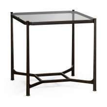 Distressed Bronze Square Side Table
