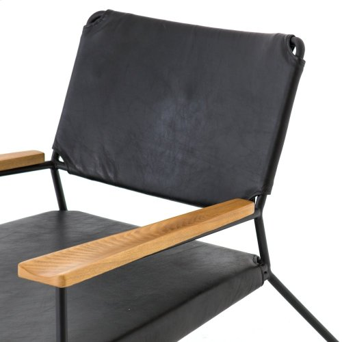 Aged Black Cover Newton Leather Chair