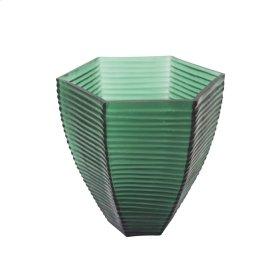 "8"" Grooved Glass Vase, Green"