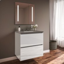 """Curated Cartesian 24"""" X 15"""" X 21"""" Two Drawer Vanity In White Glass With Slow-close Plumbing Drawer, Full Drawer and Engineered Stone 25"""" Vanity Top In Stone Gray (silestone Expo Grey)"""