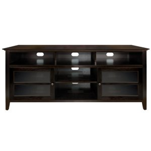 No Tools Assembly Dark Espresso Finish Wood A/V Cabinet This impressive Dar... -