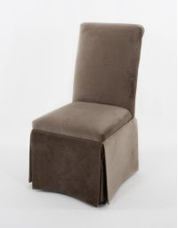 Skirted button tufted roll back with plain inside back. Product Image