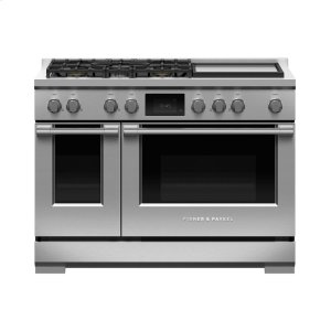 "Fisher & PaykelDual Fuel Range, 48"", 5 Burners with Griddle, Self-cleaning, LPG"