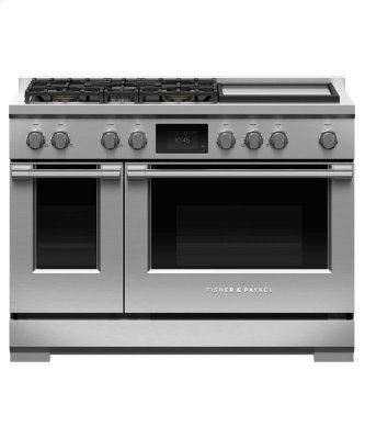"""Dual Fuel Range, 48"""", 5 Burners with Griddle, Self-cleaning, LPG"""