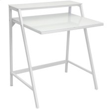 2-tier Computer Desk - White Metal, Frosted White Glass