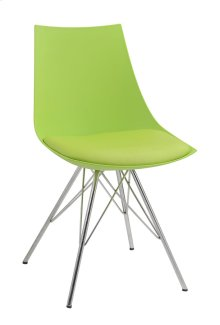 Audrey - Dining Chair Green Pu Seat-chrome Base