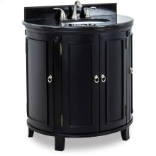 """This 33-1/4"""" vanity with warm espresso finish and carved rosettes and fluted detailing with preassembled top and bowl."""