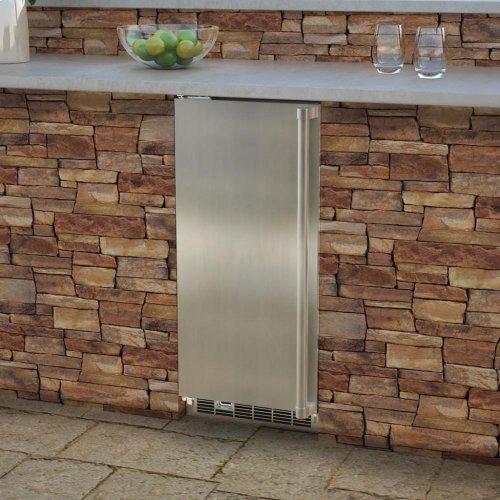 """Marvel 15"""" Outdoor Clear Ice Machine - Solid Stainless Steel Door - Left Hinge"""