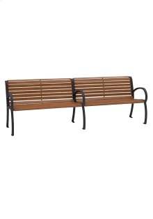District 8' Bench with Back and Arms, Faux Wood Slat