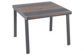 "Copenhagen 40"" Square Alum. / Polywood Dining Table w/ umb. hole"