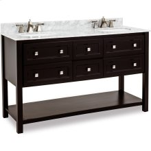 """60"""" double vanity with sleek black finish and clean lines, and complementary satin nickel hardware with preassembled top and bowl."""