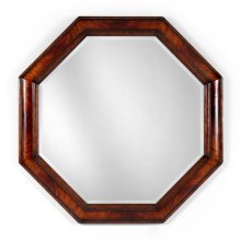 Large Octagonal Crotch Mahogany Mirror