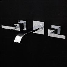 Wall-mount three-hole faucet featuring natural water flow, with two lever handles, no backplate. Includes rough-in and trim.