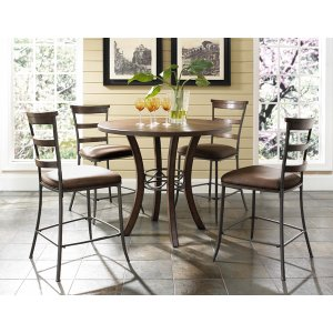Hillsdale FurnitureCameron 5pc Counter Height Round Wood Dining With Ladder Back Stools