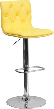 Contemporary Button Tufted Yellow Vinyl Adjustable Height Barstool with Chrome Base