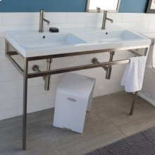 Floor-standing metal console stand with a towel bar (Bathroom Sink 5216 sold separately), made of stainless steel or brass. It must be attached to wall.