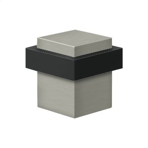 """Square Universal Floor Bumper 1-3/8"""", Solid Brass - Brushed Nickel Product Image"""