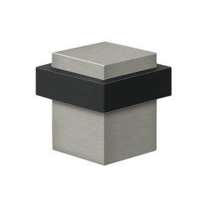 "Square Universal Floor Bumper 1-3/8"", Solid Brass - Brushed Nickel"