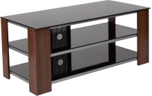 Montgomery Black TV Stand with Glass Shelves, Steel Accents and Mahogany Wood Grain Finish Frame