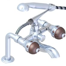 Exposed Tub Filler With Cradle Handshower, Deck Mounted