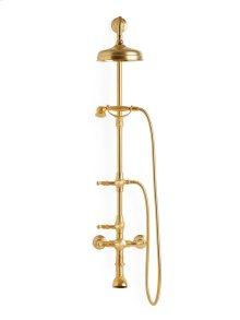 Antique Gold Ribbon & Reed Lever Exposed Shower Set