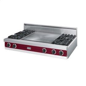 """Burgundy 48"""" Open Burner Rangetop - VGRT (48"""" wide, four burners 24"""" wide griddle/simmer plate)"""