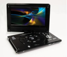 """9"""" Wide Portable DVD Swivel Screen with USB and Card Reader"""