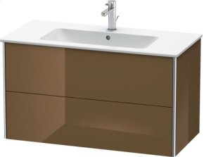 Vanity Unit Wall-mounted, Olive Brown High Gloss Lacquer
