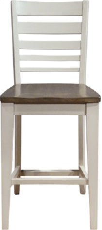 Ladder Back Stool Taupe & Pewter Product Image