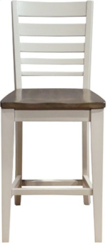 Ladder Back Stool Taupe & Pewter