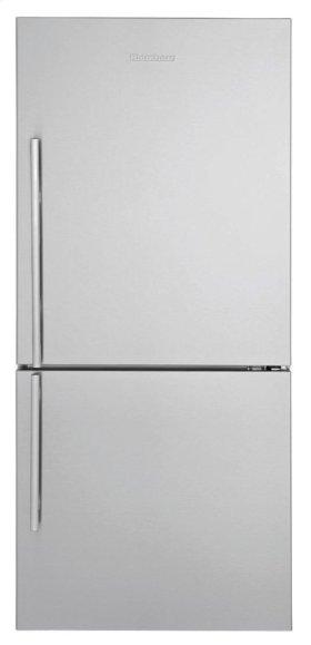 "FLOOR MODEL CLEARANCE ITEM  30"" Bottom Freezer/Fridge 18 cu ft, wrapped stainless doors, stainless handles, right hinge"