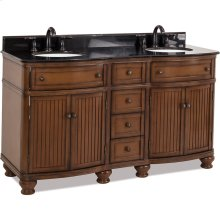 """60"""" double vanity with walnut finish and simple bead board doors and curved shape with preassembled top and bowl"""