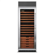 """30"""" Full-Height Wine Cellar, Brass Accent, Left Hinge/Right Handle"""
