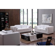 Divani Casa Dublin Modern White Leather Sofa Set w/ Buttons