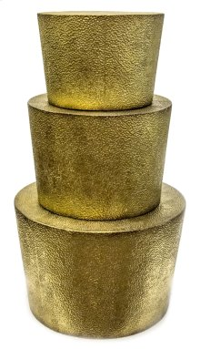 S/3 Hammered Gold Metal Accenttables