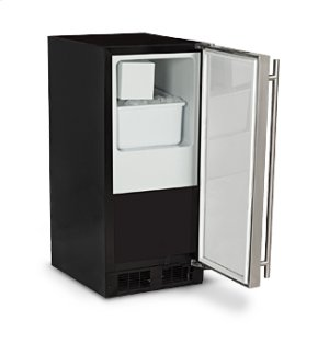 "15"" Crescent Ice Machine - Solid Stainless Steel Door, Stainless Steel Handle - Left Hinge"