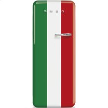 "Approx 24"" 50'S Style Refrigerator with ice compartment, Italian Flag, Left hand hinge"