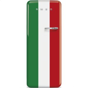 Smeg50'S Style Refrigerator with ice compartment, Italian Flag, Left hand hinge