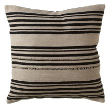 Vintage Black Stripe Fringed Pillow.