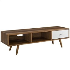 """Transmit 55"""" TV Stand in Walnut White Product Image"""