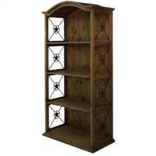 Medio finish Pine Double Bookcase with Iron Stars