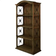Medio finish Pine Double Bookcase with Iron Stars